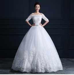 Wholesale New Sexy Bride High Quality - 2017 Free Shipping High-Quality New Short-Sleeved Lace Word Wedding Wress Wedding Slim Was Thin White Wi To The Bride Wedding Dress HY1819