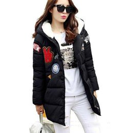 Wholesale Women S Black Military Coat - new 2016 winter jacket women military print parkas duck down loose fit coat medium long pathchwork plus size overcoat snowear