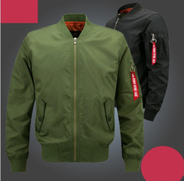 Wholesale Mens Long Military Coats - 2017 HOT Plus Size Bomber Jacket Flight Pilot Jackets Mens Casual Flying Coats Long Sleeve Slim Fit Clothes Military Air Force Embroidery