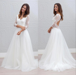 Wholesale Cheap Lace Shirts - 2017 Cheap A Line Bohemian Beach Wedding Dresses Long Sleeves Sexy V-neck Open Back Floor White Tulle Vintage Lace Bridal Gowns