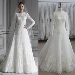Wholesale Monique Lhuillier Bridal - 2017 Monique Lhuillier Full Lace Wedding Dresses Real Images Long Sleeves Plus Size Ruching Wedding Gowns Bridal Dresses