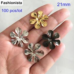 Canada 100pcs bouchons de fleurs en métal, couleur or 21 mm, couleur argent, acier, couleur bronze, 6 fleurs en métal pétale, résultats de bijoux bricolage Offre