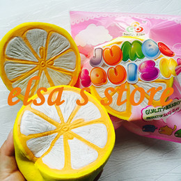 Wholesale Lemon Package - squishies wholesale 10pcs rare squishy jumpo kawaii fruit lemon slow rising with package scented squeeze toy kids gift Free Shipping