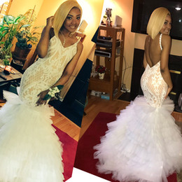 Wholesale spaghetti strap nude sequin dress - 2018 Newest Mermaid Prom Dresses V Neck Spaghetti Straps Embroidery Tiered Tulle Backless Champagne Nude Ivory 2K18 Party Dresses