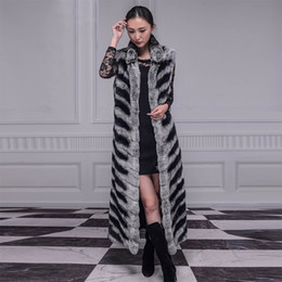 Wholesale Rex Rabbit Fur Vest - 2017 Free shipping Jiashibao Women Fur vest Winter Pure Rex Rabbit Fur waistcoat Imitate Chinchilla Fur Sleeveless stand collar long Outwear
