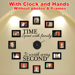 """Wholesale Frame Wall Clock - Wholesale-Wall Clock DIY Modern Design With Clock and Hands, """"Time Spent With Family"""" Creatively Acrylic Vinyl Home Decor, no frames"""