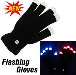 Wholesale Led Light Concert - 50 pair Free Shipping Flash color change LED glove Rave light led finger light glove light glove party favorite concert YYA566