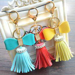 Wholesale Wholesale Men Diamond Ring - Creative Diamond Bowknot Flower Tassel Keychain Car Key Ring Bag Pendant 9 Colors Available PU Material Superman Keychain DHLM478
