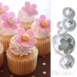 Wholesale Cake Decorating Cutters Flowers - Wholesale- Hot Sale 4pcs Plum Flower Plunger Fondant Mold Cutter Sugarcraft Cake Cookie Decorating 7JNR