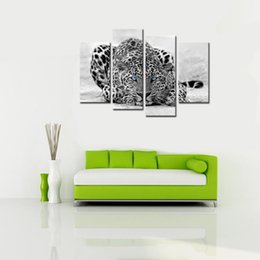 Wholesale Blue Wall Decor Art Canvas - 4 Pieces Abstract Blue Eyed Leopard Painting Black White Wall Art Animal Picture Prints On Canvas Wooden Framed For Home Decor