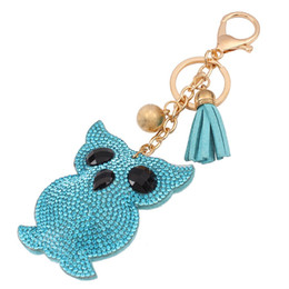 Wholesale Crystal Owl Ring - hot sale bag accessories charms key rings Fashion Candy color cute OWL cartoon metal leather tassels diamond crystal pendant keychain
