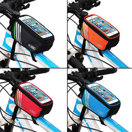 Wholesale Phone Pouch Case Bike - Bicycle Bags Cycling Bike Frame 5.7 inch Touch Screen Phone Holder Frame Tube Storage Bag MTB Road Bike Case Pouch 2521002