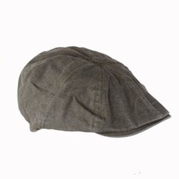 Wholesale mens newsboy caps - Wholesale-Big Sale Fashion Gentleman Mens Cotton Bakerboy Beret Flat Cap Newsboy Cabbie Cool Driver Sun Hats Golf Driving Male Models