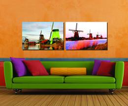 Dipinti soggiorno online-Commercio all'ingrosso 2 pz Immagine Modulare Bella Mulino A Vento Pittura Il Salotto Pittura Decorazione Moderna Pitture Decorative