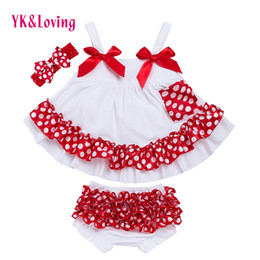 Wholesale Swing Dress Bloomers Set - Fashion Baby Girls Swing Top Dresses Set Polka Dot Cotton Ruffled Outfits With Matching Bloomers Headband Sets Bow Girl Clothing Infant X006