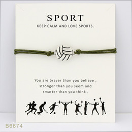 Wholesale volleyball bracelets - Silver Tone Volleyball Sports Charm Bracelets & Bangles Gifts For Women Girls Adjustable Friendship Statement Jewelry With Card