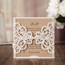 Wholesale Bridal Shower Cards - laser cut invitations navy blue white wedding bridal shower party invitation cards Free shipping wholesales 50pcs lot