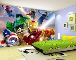 Wholesale Country Decor Wallpaper - 3D Lego Avengers wallpaper for walls Mural Cartoon wallpaper Kids Bedroom Room Decor TV backdrop wall covering Photo wallpaper