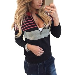 Wholesale Ladies Jumpers Knits - Wholesale- Womens Long Sleeve Knitted Sweater 2016 Autumn Fashion Zipper V-neck Mix Color Pullover Ladies Casaul Slim Fit Jumper Top