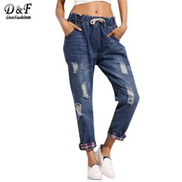 Wholesale Dual Jeans - Wholesale- Dotfashion Blue Drawstring Waist Ripped Dual Pockets Distressed Boyfriend With Plaid Lining Detail Jeans size S-2xl