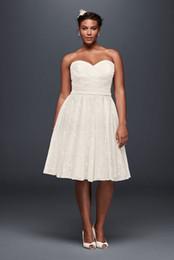 Wholesale Full Skirt Sweetheart Short Dress - 2017 Short Plus Size Wedding Dresses Cheaper A-Line Sweetheart Full Lace knee-length skirt 9WG3826 Bridal Gown