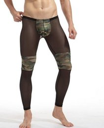 Wholesale Transparent Legs Sexy - Men's Fashion Sexy Transparent Camouflage Tights Breathable Bodybuilding sheer Mesh full length pants legging long john gay