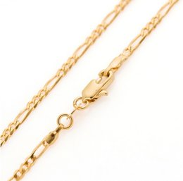 Wholesale Real Jewelry Gold - Classic 60cm women men real gold GP filled figaro gold chain 24 inches 2.5mm 5g thin long necklace & Pendants Jewelry