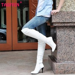 snow boots long high Coupons - Wholesale- Size 34-47 Women High Heel Over Knee Boots Fashion Snow Long Boot Warm Winter Brand Botas Footwear Heels Shoes P1318-2
