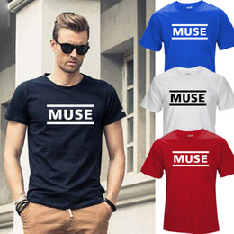 Wholesale Night Shirt Men - 100% COTTON Newest 2016 men's fashion short sleeve night MUSE printed t-shirts funny tee shirts Hipster O-neck T32