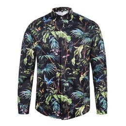 Wholesale Rayon Mens Shirts - Mens long sleeve high quality 3d shirts fashion 2017 casual slim fit dress shirt hawaiian style shirts men luxury men flower shirt D10
