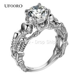Wholesale Motor Jewelry - Wholesale- UFOORO Ghost evil Skull skeleton Hand CZ Ring European and American Punk style Motor Biker Men Ring 2017 new skull men's jewelry
