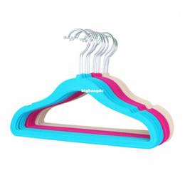 Wholesale Wholesale Velvet Scarf Hanger - Kids Standard Flocked Velvet Dress Hanging Orginazer Hanger No Slip Ultra Slim with U Notch (30 pieces Lot)