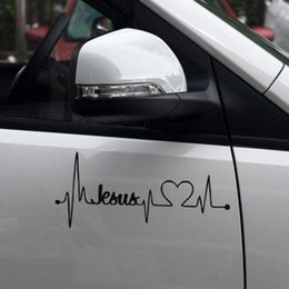 Wholesale El Decals - 17.8*7.7cm Car Truck Sticker Jesus Heartbeat Monitor Car Decal Stickers For Car Tailgate