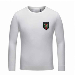 Wholesale Bee Stitched - New ITALY Luxury Brand Embroidery Tiger Sweaters For men Fashion Snake Bees Print Sueter Men's Long Sleeve Winter Medusa Chandail Clothing