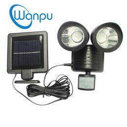 Wholesale Double Spotlights - Solar Powered Lights 22 LEDs Motion Sensor Spotlight Solar Panel Sconce Lamp Outdoor Double Dural Heads Garden Lighting Device