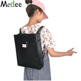Wholesale Leather Japanese Girls - Wholesale- Backpacks For Teenage Girls Black Bookbags School Backpacks Japanese Harajuku Laptop Leisure Square PU Leather Backpack UBH027