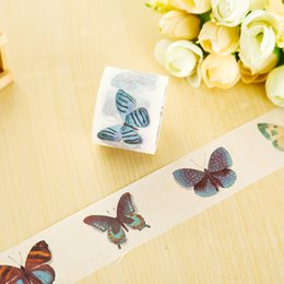 Wholesale Diy Stationery - Wholesale- 2016 3cm*7m Raining Butterfly washi tape DIY decorative scrapbook planner masking tape office adhesive tape stationery