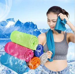 Wholesale Towels Packaging - 2017 Cold Towels Sports Ice Cool Towel double color dual layer PVA Hypothermia Sweat Summer Sports Cooling Towel with retail package