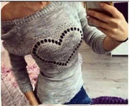 Wholesale E Bow - Wholesale-Ladies Pullover Solid Bow Sweater Plus size Autumn Winter Sweet Heart Round Neck Casual Loose Women Sweaters Knitted Top XXL E