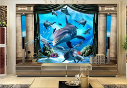 Wholesale Underwater Wall Decorations - 3d room wallpaper custom photo Pillars underwater world dolphins decoration painting picture 3d wall murals wallpaper for walls 3 d