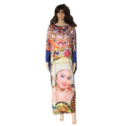 Wholesale Maxi Long Dress Leopard Print - Wholesale- 2017 New Casual Print Dresses Long Sleeve Pattern Beauty Face Leopard Women Maxi Dress Vestidos African Style Fat MM Loose Dress
