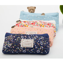 Wholesale Double Zipper Pencil Case - Wholesale- School Pencil Bag Pencil Pouch Double Zipper Pure and Fresh Cosmetic Bags Office Stationery Canvas Pencil Case
