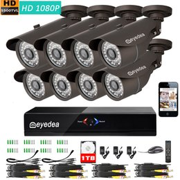 Wholesale Home Camera System 1tb - Eyedea 8 CH 1080P Remote Control Remote View DVR Video Surveillance 2.0MP Outdoor Bullet Night Vision Home CCTV Security Camera System 1TB