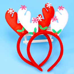 Wholesale Cartoon Packaging For Shipping - Christmas Headband Santa Claus Red Hair Hoop XMAS Headdress For Kids And Holiday Party Fashion Clips With Retail Package Drop Shipping