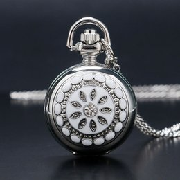 Wholesale Cool Dresses For Women - Wholesale-New Silver Flower Full Hunter Lady Women Cool Necklace Pocket Watch Quartz Classic Rhinestone Pendant Gift for lady Girl