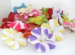 Wholesale Hawaiian Flowers For Hair - flower head 10 PCS Artificial Hawaiian Plumeria Frangipani Silk Flowers Heads for Hair Clip wedding decoration B47