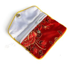 Wholesale Chinese Brocade Pouches - Floral Mini Zipper Coin Purse Red Bag Chinese Silk Brocade Jewelry Pouch Gift Bag 100pcs  lot Women Coin Pouch Wholesale 6x8 cm 8x10 cm