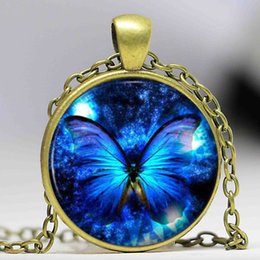 Wholesale Vintage Glass Beaded Necklaces - Blue Butterfly Pendant Necklace fashion vintage Glass pendant dome Cabochon Round Pendant steampunk necklace Jewelry