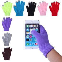 Wholesale Free Cell Ipad - 12Colors Winter Knit Gloves Conductive Capacitive Touch Screen Gloves for iPhone iPad Mini Samsung Edge Galaxy Mobile Cell Phone Gloves