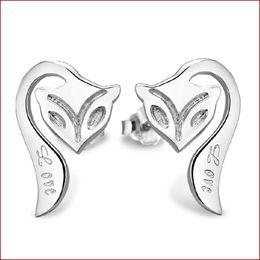 Wholesale Earring Fox - New Jewelry Earrings Fox Stud 925 Sterling silver Earrings for Wedding Party Beige color Free Shipping ss-55